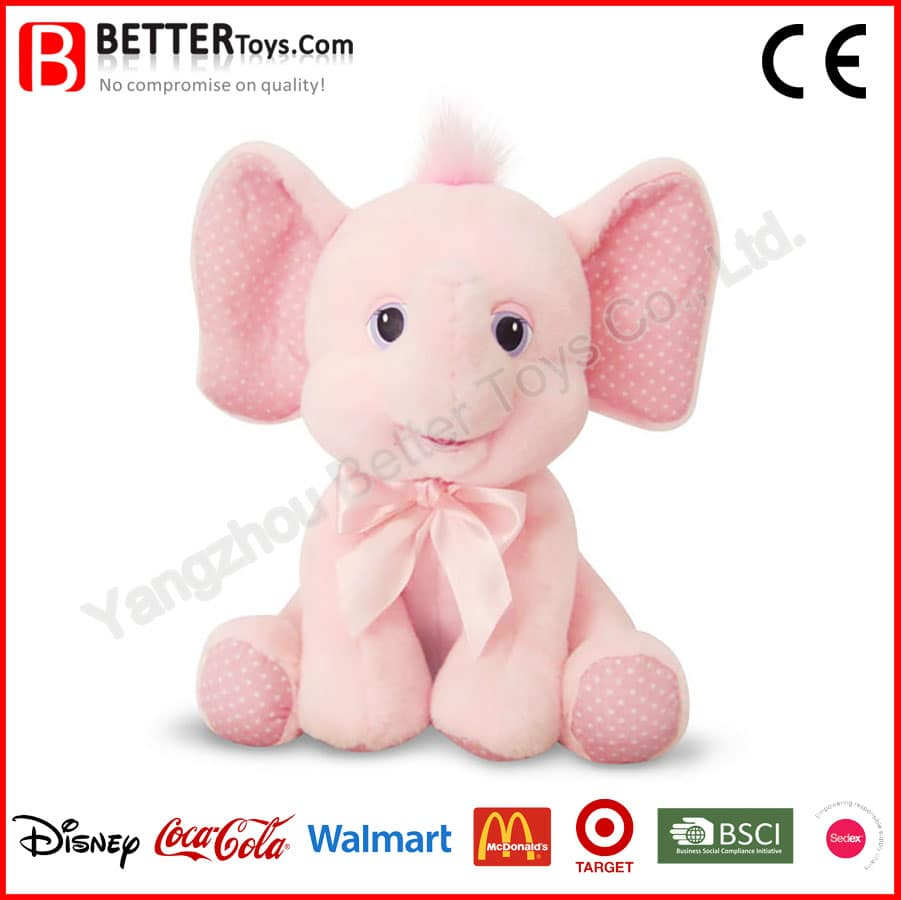 Lovely Pink Plush Elephant Baby Toy Yangzhou Better Toys