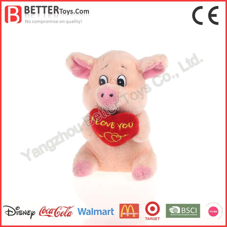 Plush Toy Pig for Valentine's Day